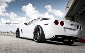 Обои Z06, Corvette, Chevrolet, white, шевроле, корвет, задняя часть