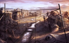 Обои люди, дома, арт, городок, поселение, by cloudminedesign, slums