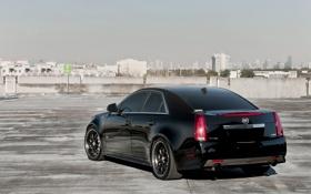 Обои чёрный, Cadillac, парковка, black, CTS-V, кадилак