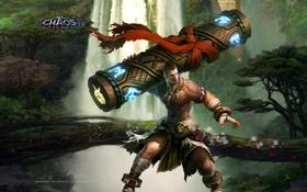 Обои водопад, столб, шарф, символы, парень, Chaos Online