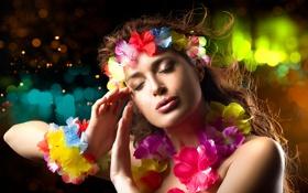 Картинка цветы, фон, модель, руки, макияж, закрытые глаза