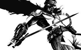 Картинка стиль, фантастика, меч, воин, маска, противогаз, шлем