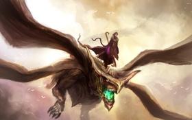 Обои небо, полет, dragon, winged