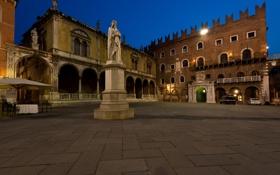 Картинка небо, ночь, дома, площадь, Италия, памятник, Верона