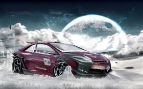Картинка лед, звезды, луна, Ford Focus