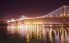Картинка ночь, мост, город, огни, река, берег