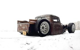 Картинка снег, volkswagen, хотрод, фольксваген, snow, ratroad, рэтрод