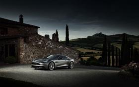 Обои Aston Martin, Небо, Вечер, Серебро, Здание, Vanquish, Спорткар