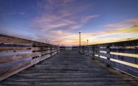 Обои пейзаж, закат, мост, город