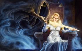 Обои глаза, девушка, магия, дух, меч, фэнтези, арт