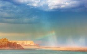 Обои небо, вода, свет, скалы, радуга