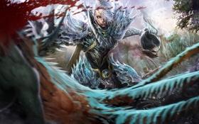 Обои кровь, эльф, голова, доспехи, fantasy, сражение, охотник