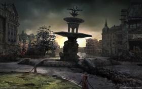 Картинка город, газон, дома, площадь, фонтан, руины, gears of war 2