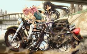 Картинка девушки, аниме, мотоцикл, madoka magica