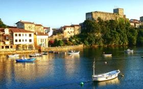 Картинка берег, дома, лодки, Испания, San Vicente de la Barquera