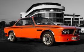 Обои дорога, car, авто, оранжевый, город, BMW, Машина