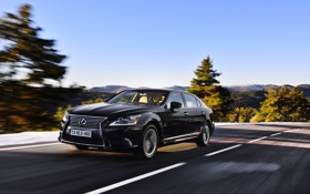 Картинка Авто, Дорога, Черный, Lexus, Машина, Седан, В Движении