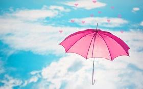 Картинка небо, облака, зонтик, розовый, голубое, зонт, сердечки