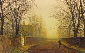 Картинка дорога, осень, девушка, деревья, дом, улица, картина