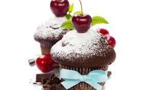 Обои вишня, шоколад, ягода, бант, черешня, кекс, маффин