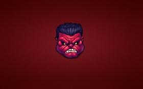 Обои минимализм, marvel, комикс, красный халк, red hulk