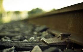 Картинка макро, железная дорога, шпалы