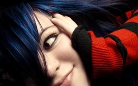 Обои волосы, синии, девушка, лицо, улыбка