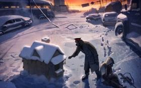 Картинка зима, снег, следы, дом, оружие, люди, противогаз