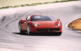 Картинка Красный, Авто, Феррари, Асфальт, Ferrari, Трасса, 458