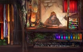 Картинка одежда, арт, лавка, бутыльки, товар, прилавок, торговец