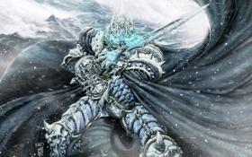 Картинка холод, зима, снег, меч, шлем, плащ, wow