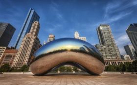 Обои капля, Чикаго, USA, Иллинойс, Chicago, drop, монумент
