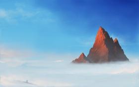 Картинка облака, человек, высота, гора, арт, вершина, пик