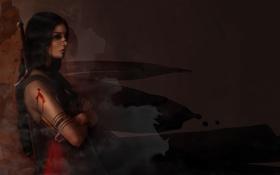 Картинка девушка, лицо, оружие, кровь, рука, меч, пирсинг