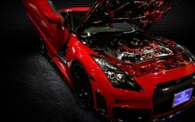 Обои двигатель, тюнинг, ниссан, Nissan GT-R, Spec-V