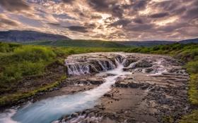 Обои закат, облака, река, трава, небо, холмы, исландия