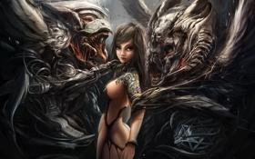 Обои девушка, крылья, тату, арт, пасть, монстры, клыки