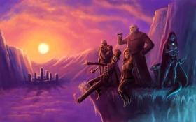 Картинка закат, горы, город, девушки, обрыв, скалы, магия
