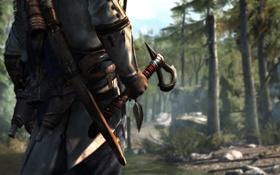 Обои лес, лук, Кредо Убийцы 3, Assassin's Creed III, Коннор Кенуэй, тапор
