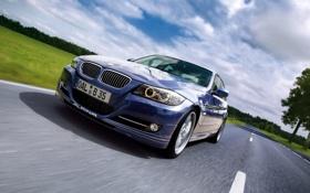 Обои Дорога, Синий, BMW, Машина, Бумер, Решетка, Седан