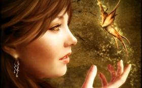 Картинка девушка, свет, лицо, фантастика, магия, бабочка, рука