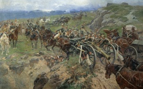 Картинка масло, картина, живопись, войска, Франц Рубо, Живой мост