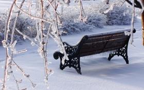 Картинка зима, снег, скамейка