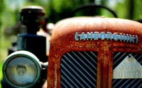 Обои Lamborghini, ржавчина, трактор, tractor, rust, first tractor with 4WD
