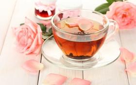 Обои варенье, розовые, лепестки, розы, баночки, чашка, чай