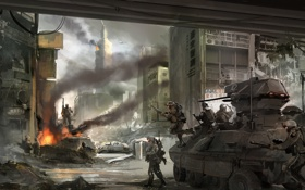 Обои город, война, солдаты, танк
