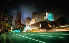 Обои Walt Disney Concert Hall, дома, Los Angeles, ночь, США, улица, огни