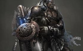 Обои оружие, меч, арт, сигара, мужчина, бензопила, Atlantica Online