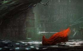 Картинка фантастика, здания, арт, красный плащ
