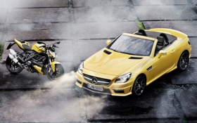 Обои машина, желтый, Mercedes-Benz, мотоцикл, плиты, суперкар, байк